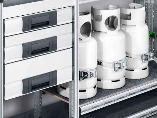 vario3 schublade gasflaschenhalter